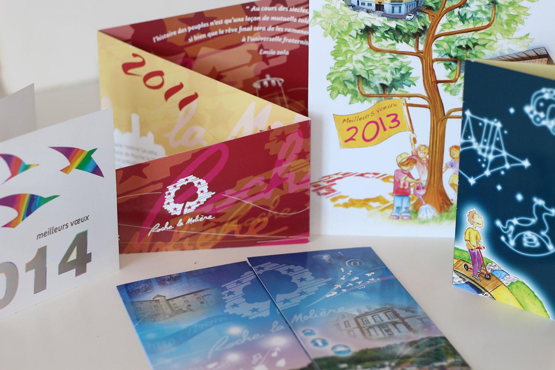 Cartes de vœux ville de Roche la Molière - Franck Perrot Design - Apicom - Illustration - Maquette