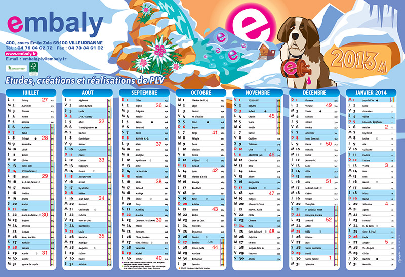 calendrier Embaly
