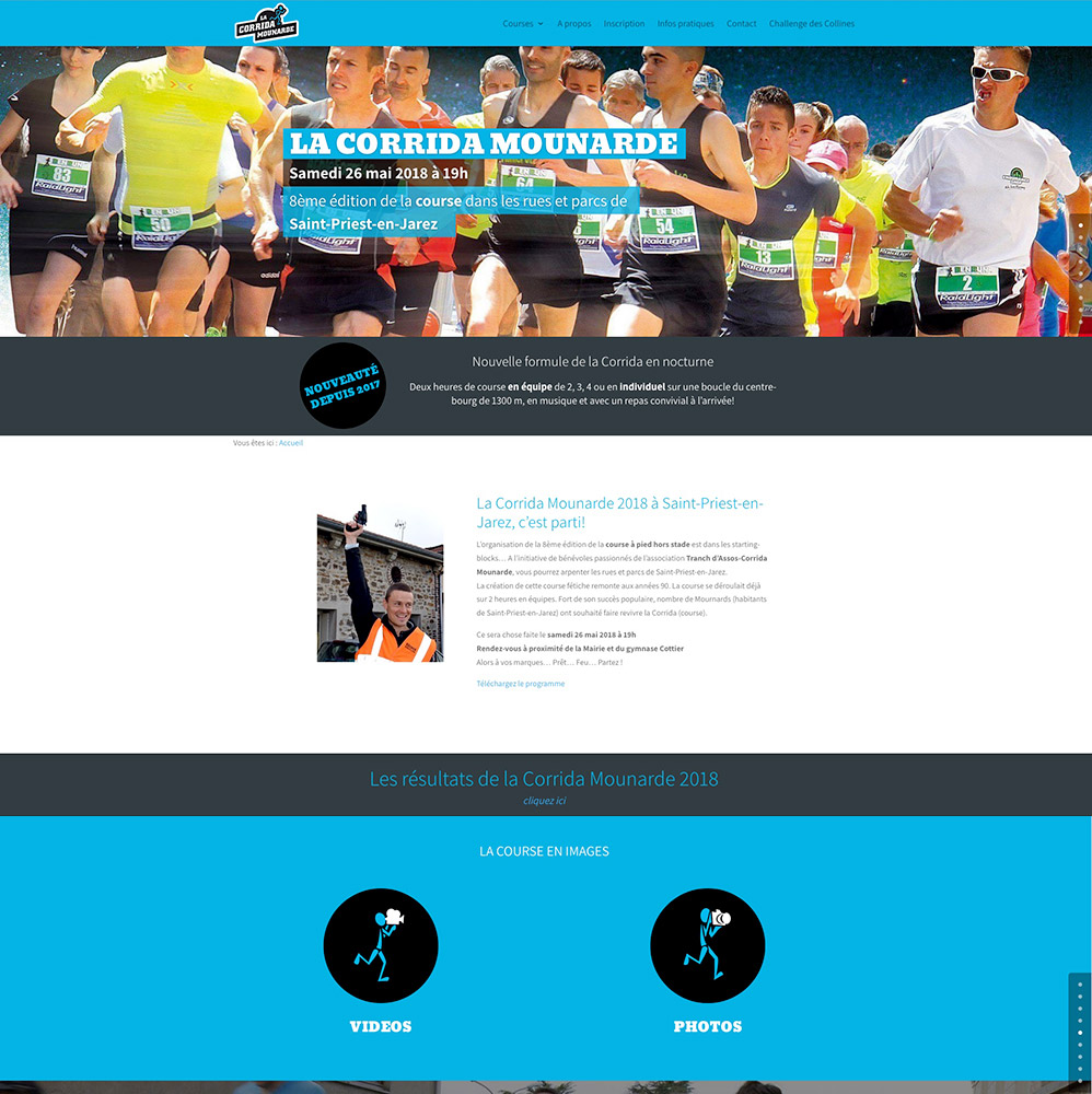 Corrida Mounarde - accueil- conception du site : Franck Perrot Design