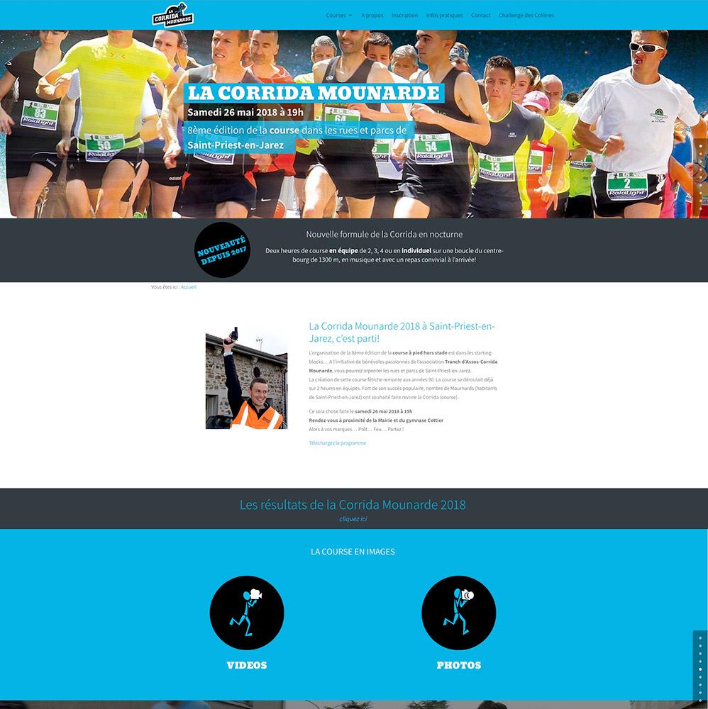 Corrida Mounarde - accueil- conception du site : Franck Perrot Design