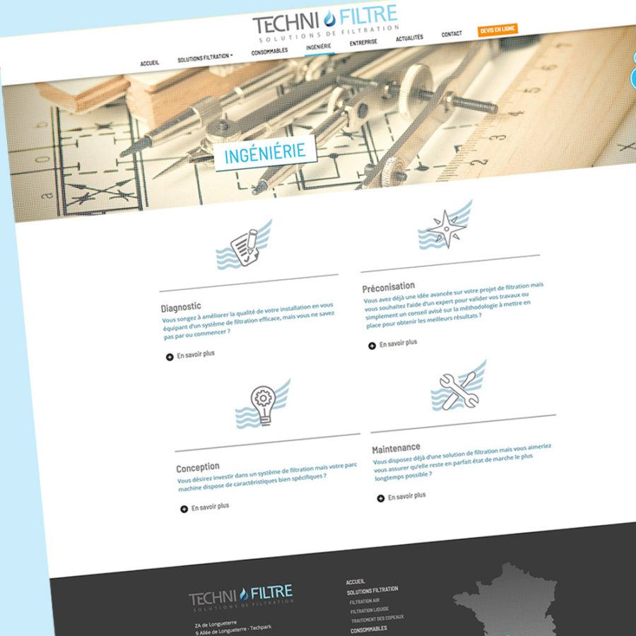 Technifiltre - page ingenierie - Franck Perrot Design