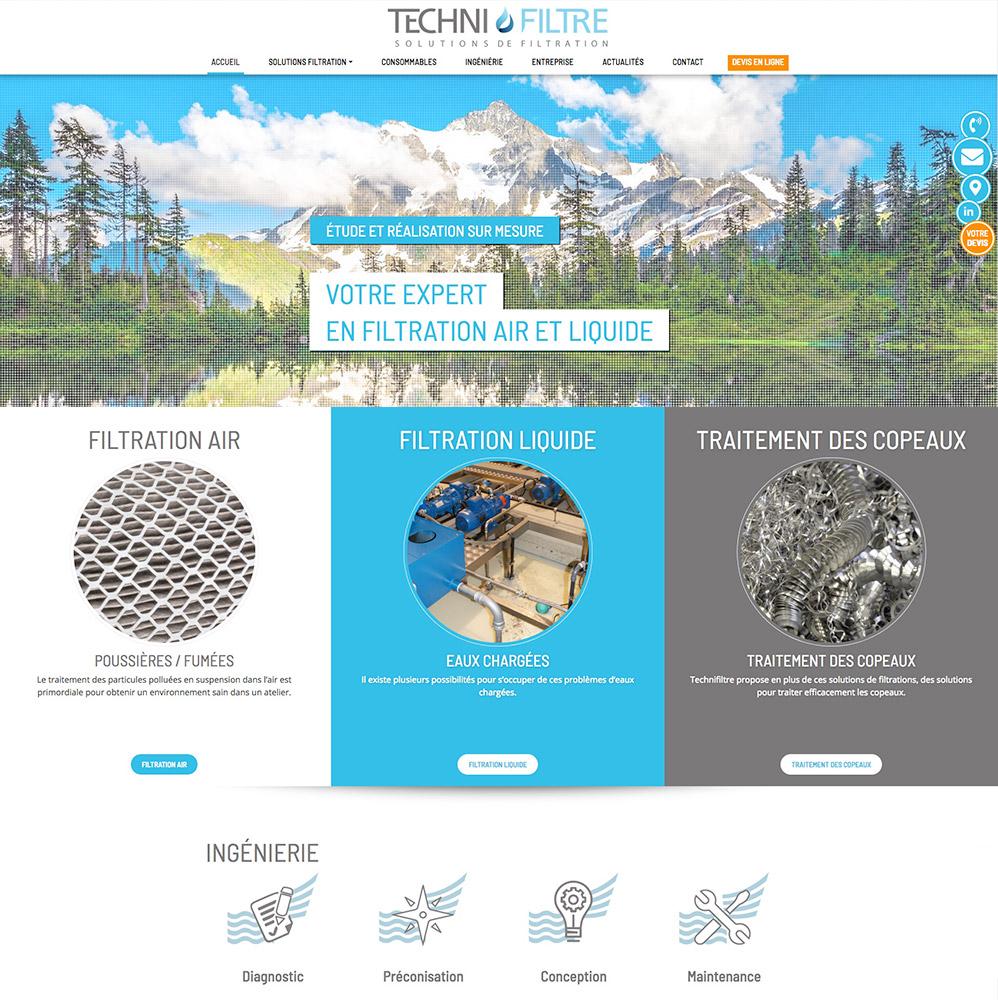 Site Technifiltre - page d'accueil