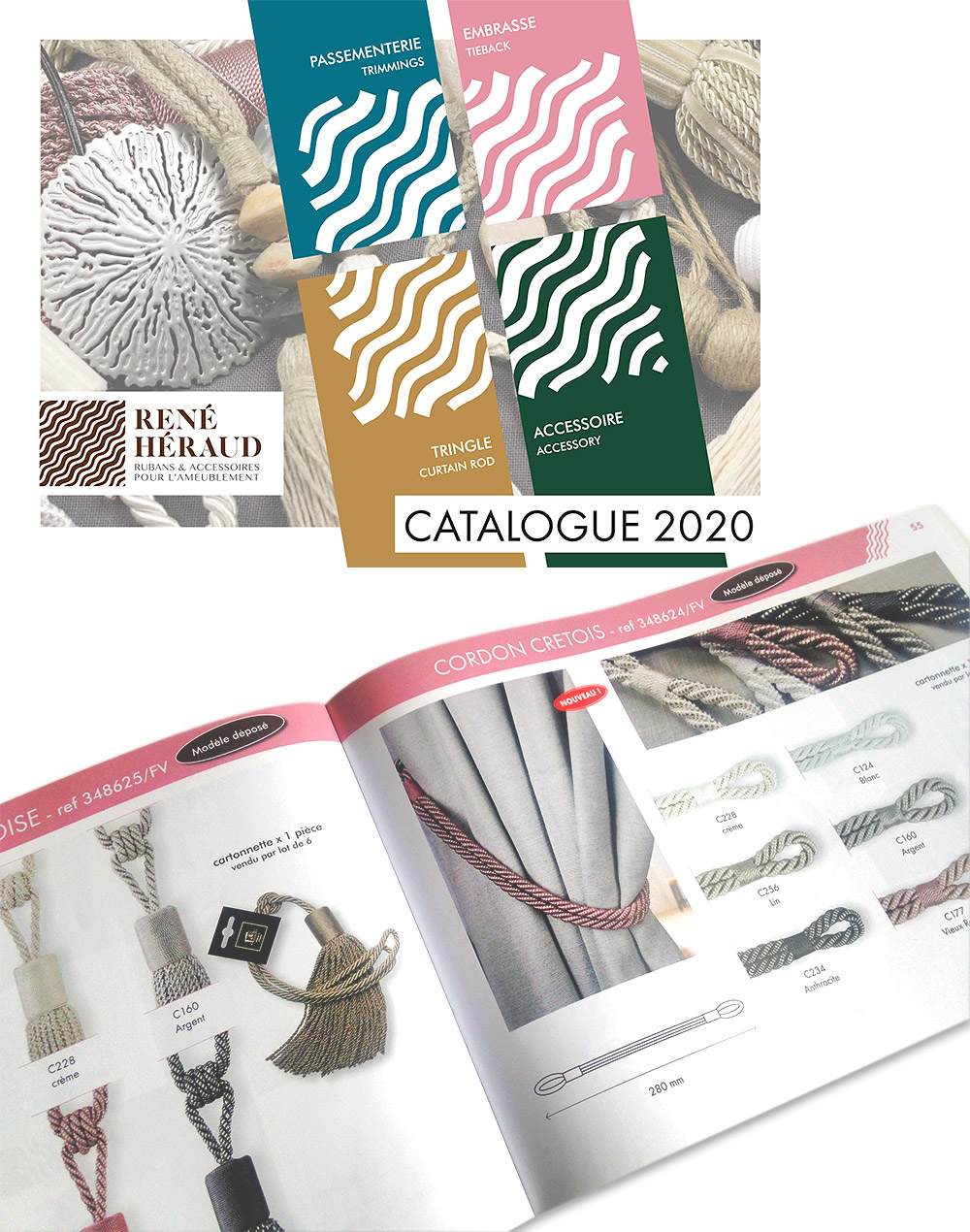 Photo : catalogue René Héraud Rubans 2020. Conception graphisme et mise en page