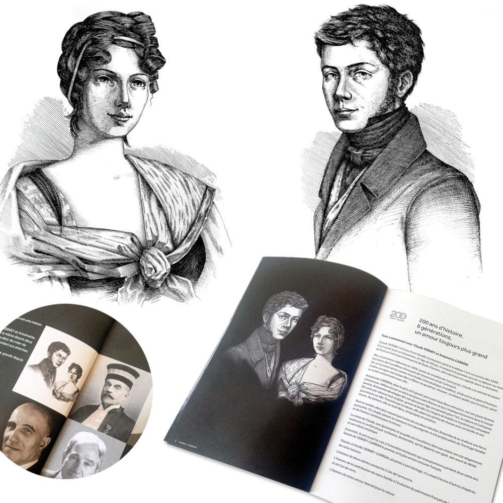 portrait de Claude Verney et Antoinette Carron pour le catalogue Verney-Carron 2020